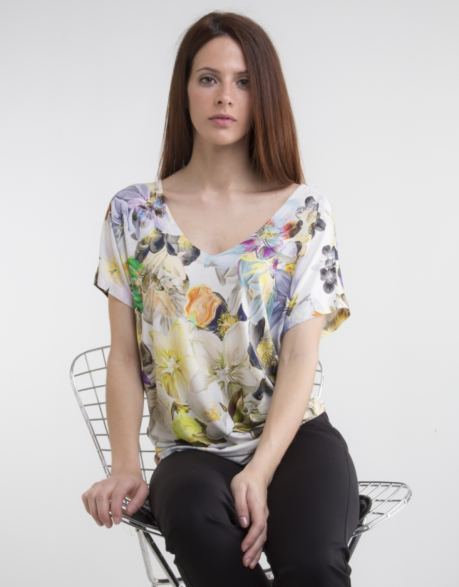 T-shirt col V, imprimé jaune