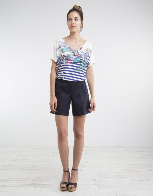 T-shirt col V, imprimé bleu