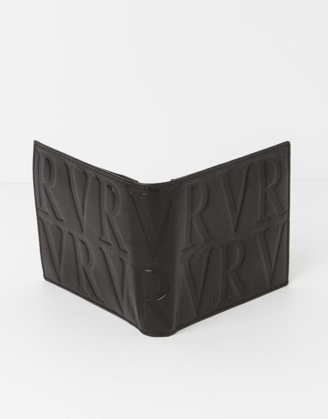 Portebillet en cuir brun avec monnaie intérieur