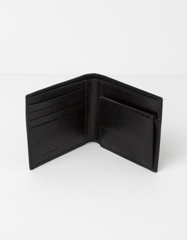 Billetera negra con monedero interior piel grabada RV.
