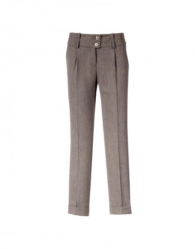 Brown straight-leg pants