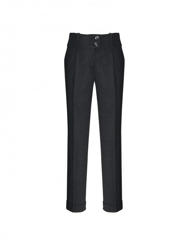 Grey straight-leg pants