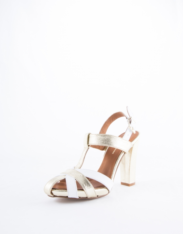 Sandalia Mikonos  tiras  piel metalizada dorada y blanca