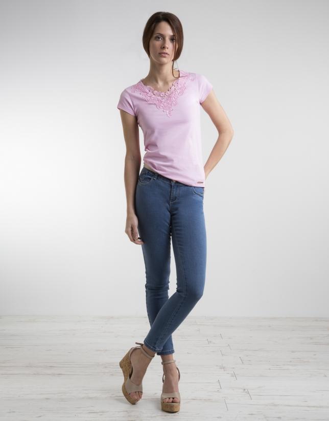 T-shirt rose crochet