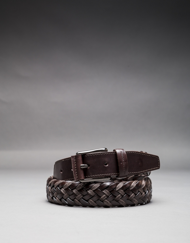 Braided brown cotton - leather belt