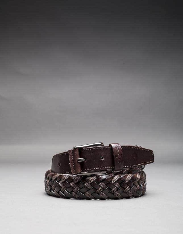 Cinturón trenzado piel y algodón marrón