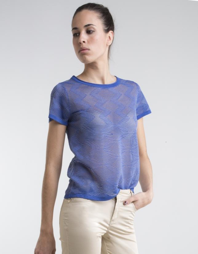 T-shirt bleu à manches courtes