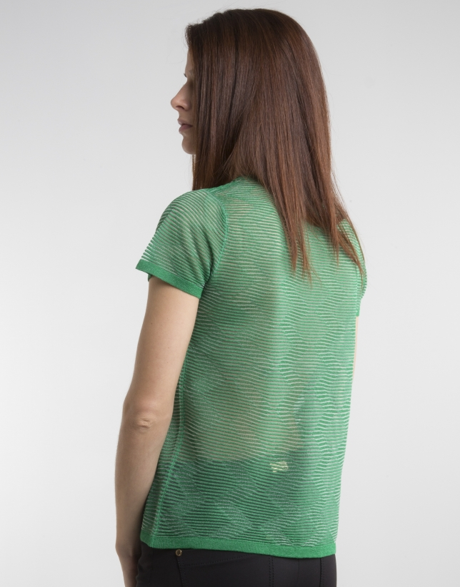 Green short sleeved top