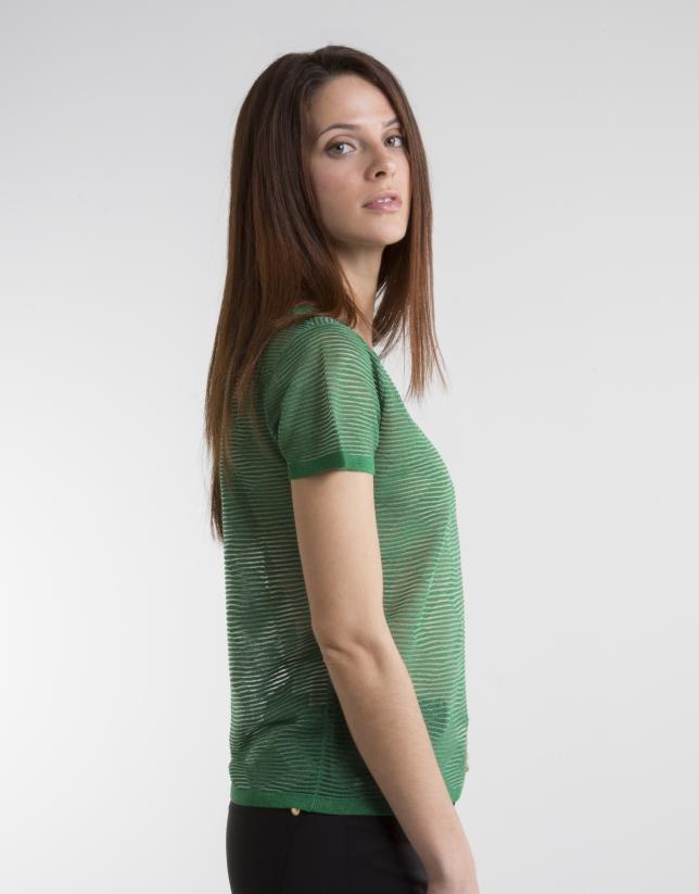 Green short sleeved top