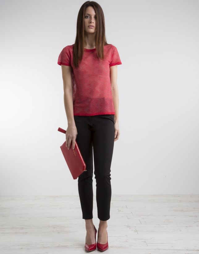 Red short sleeved top