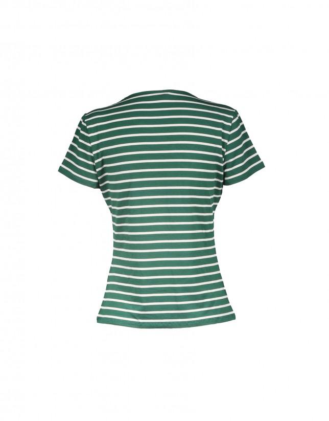 Green beige striped short sleeve T-shirt
