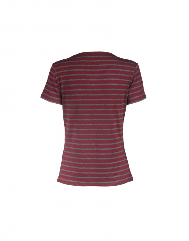 Bordeaux grey striped short sleeve T-shirt
