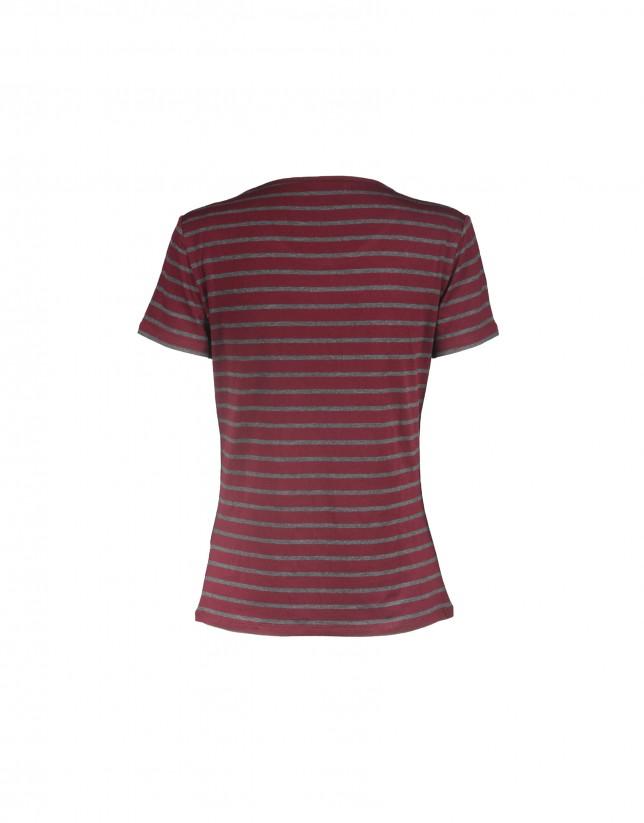 Camiseta manga corta rayas gris-burdeos