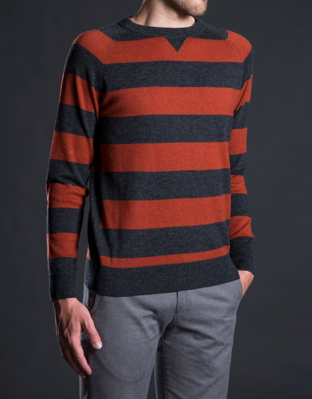 Gray and orange striped knit sweater with elbow patches