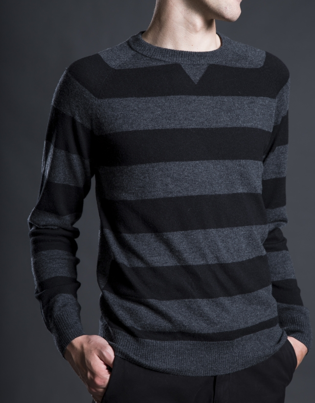 Gray striped sweater with elbow patches