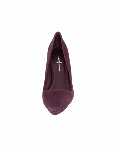 Muscat burgundy suede pointed platform pumps