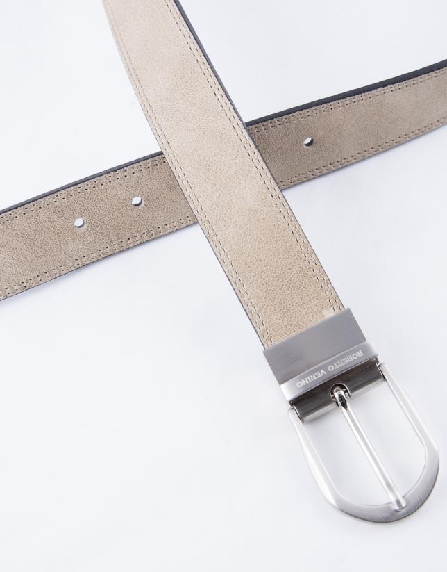 Cinturón  beige e índigo napa reversible