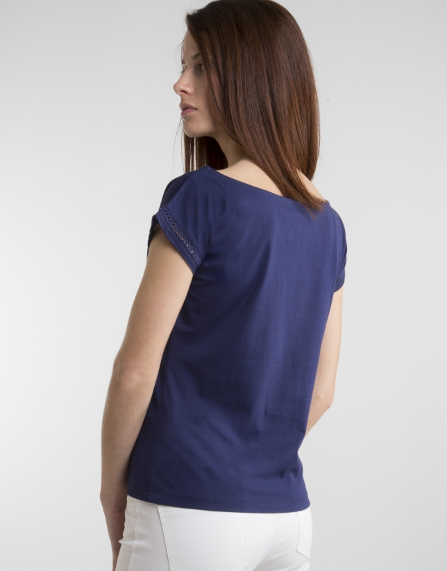Navy blue top with decorative panel