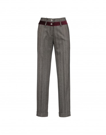 Grey pants with velvet trim