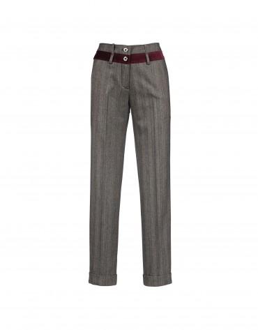 Grey pants contrasting velvet