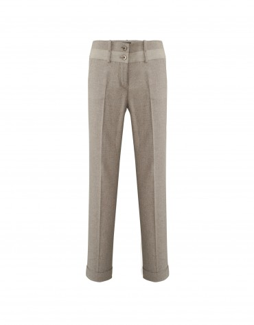 Beige pants with velvet trim