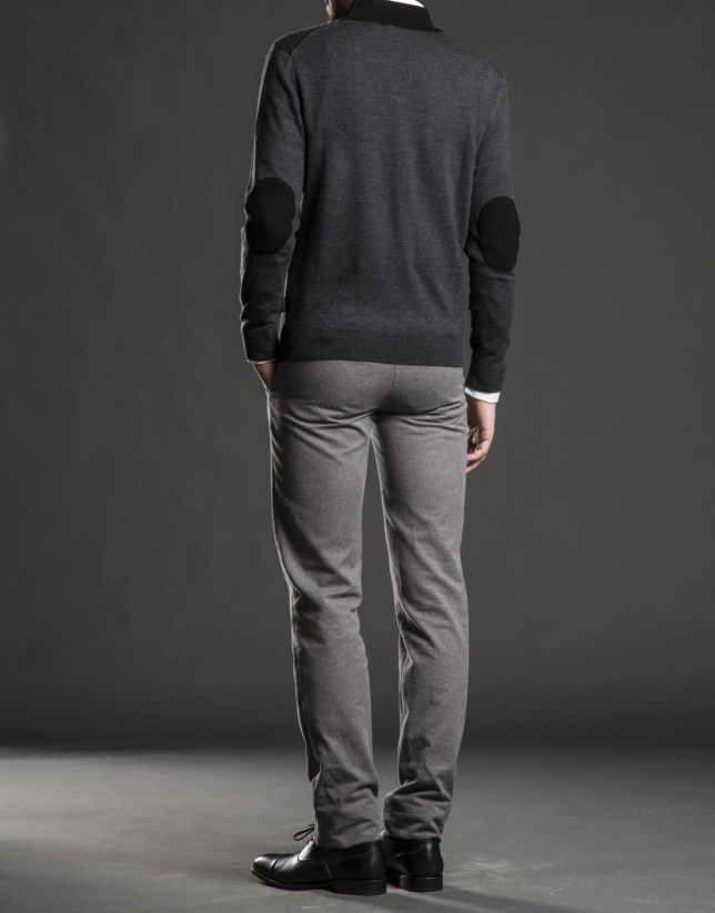Gray turtle neck sweater with buttons