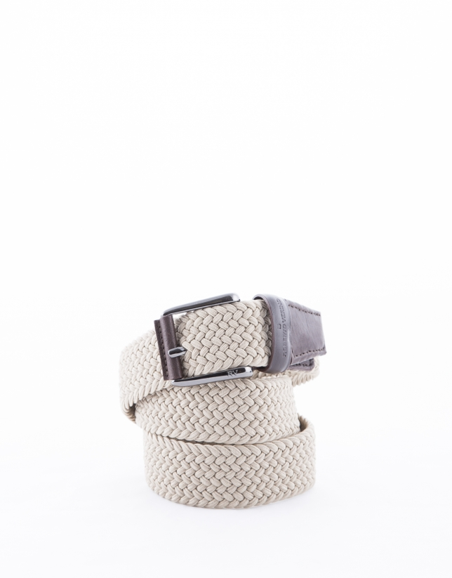 Beige ribbed braided belt