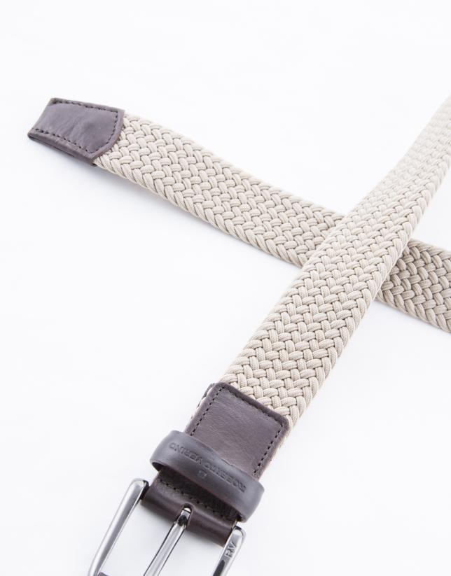 Cinturón beige trenzado elástico