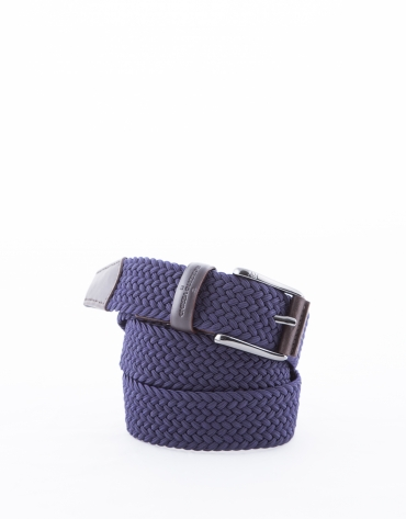 Navy blue ribbed braided belt