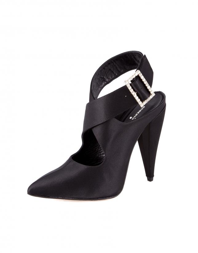 Sandale à talon Tripoli satin noir.