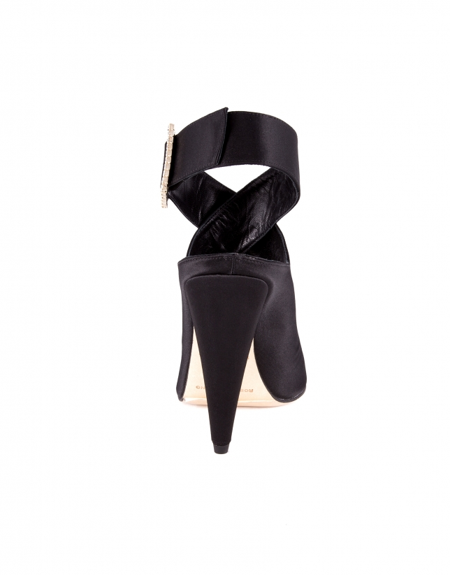 Black satin Tripoli shoes with glass buckles