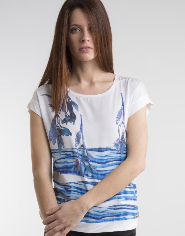 T-shirt bleu imprimé fantaisie