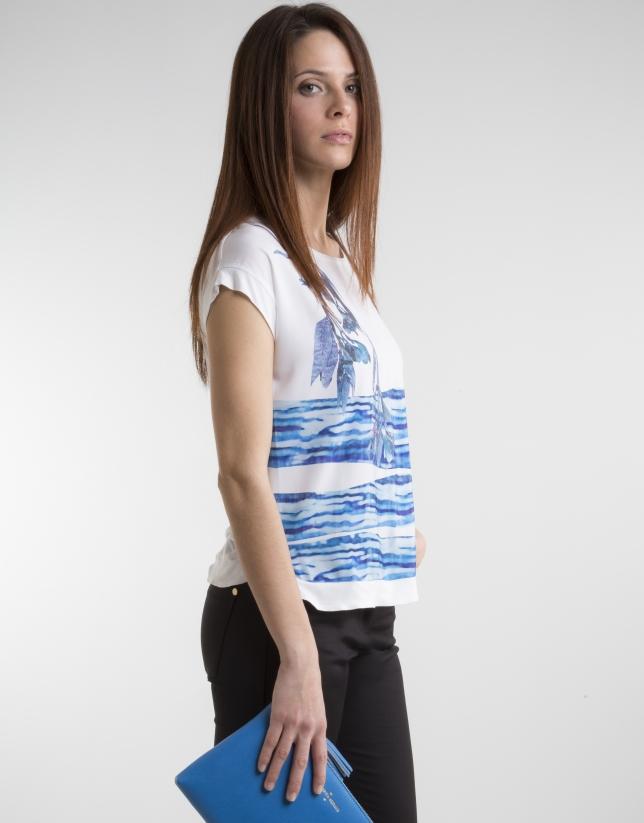 Camiseta estampado fantasía azul