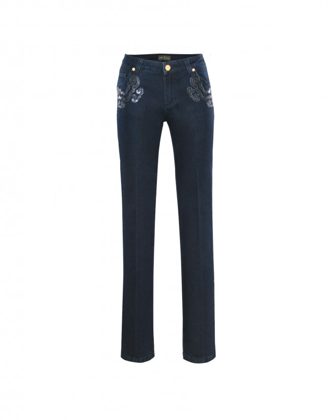 Blue denim pants sequin appliques