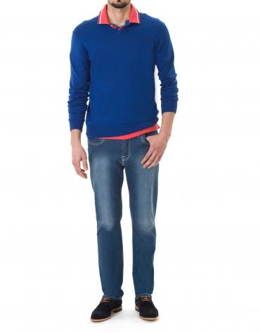 Pull  tricot basique bleu roi