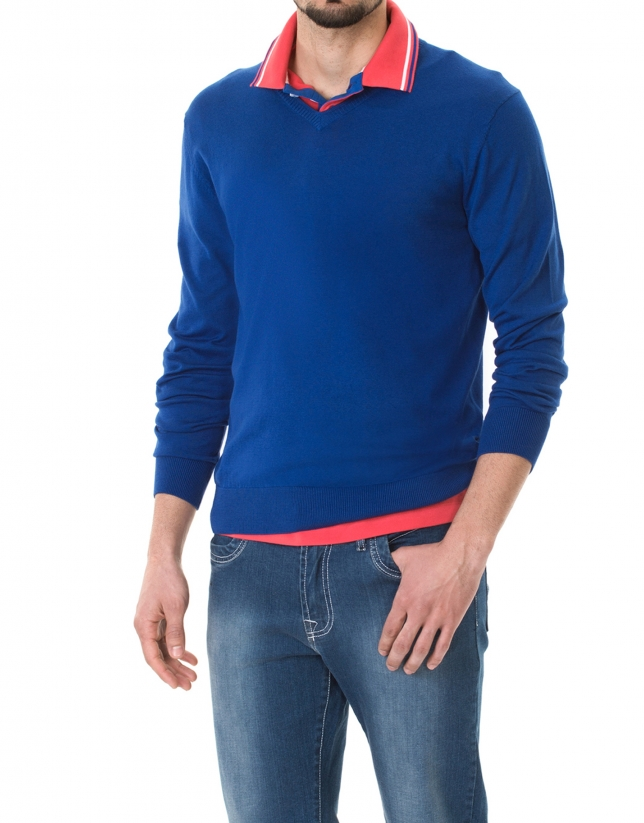 Blue basic knit sweater