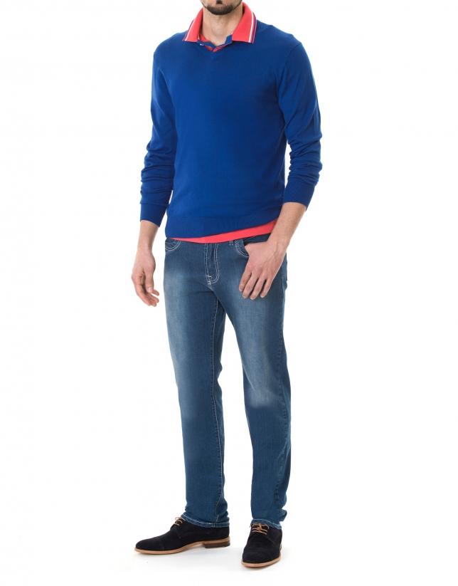 Blue basic knit sweater