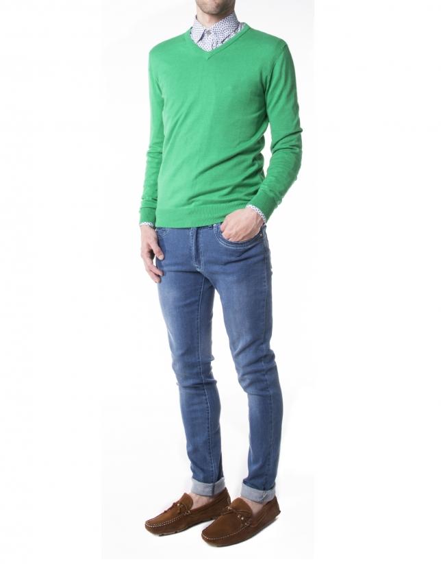 Pull tricot basique vert