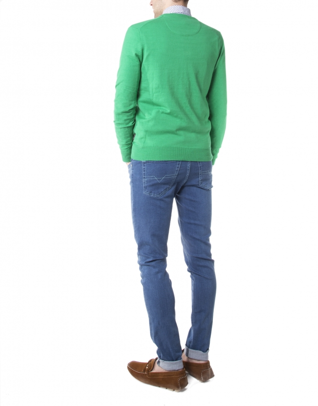 Pull tricot basique vert