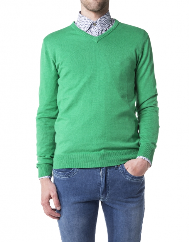 Green basic knit sweater