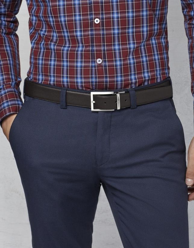 Cinturón vestir reversible negro/marrón