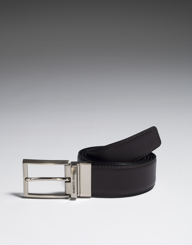 Reversible dress belt black/brown