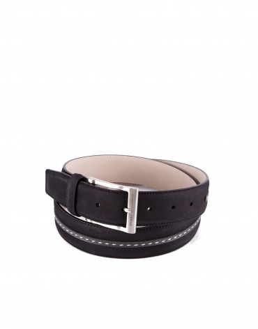 Black combination leather and suede belt