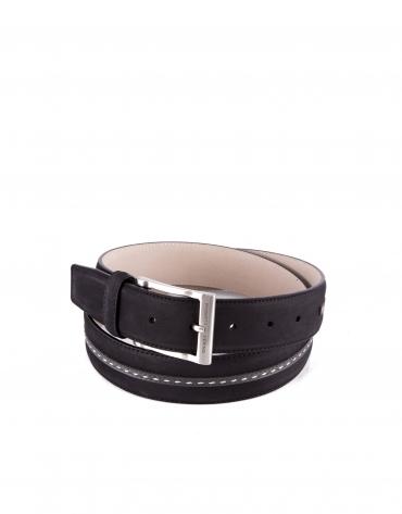 Cinturón combinado ante piel negro