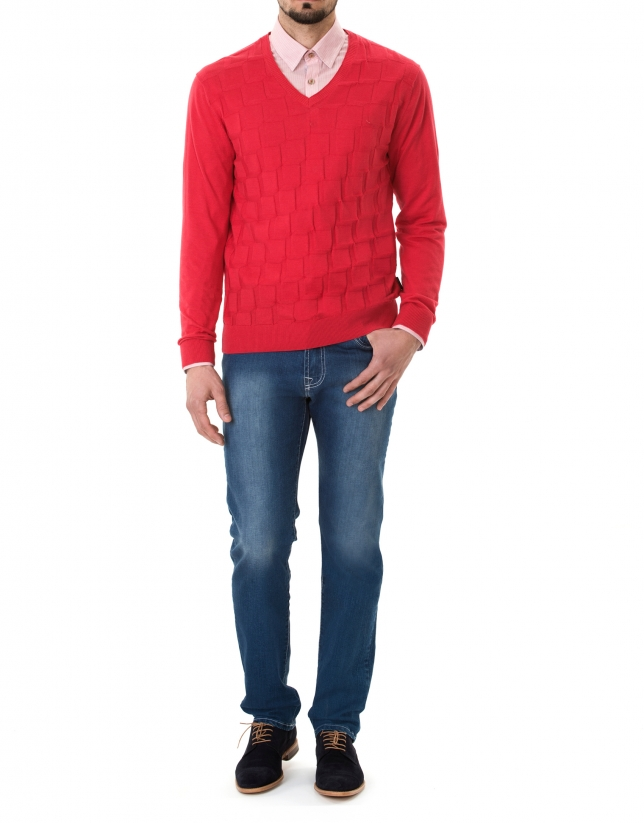 Red jacquard V-neck sweater