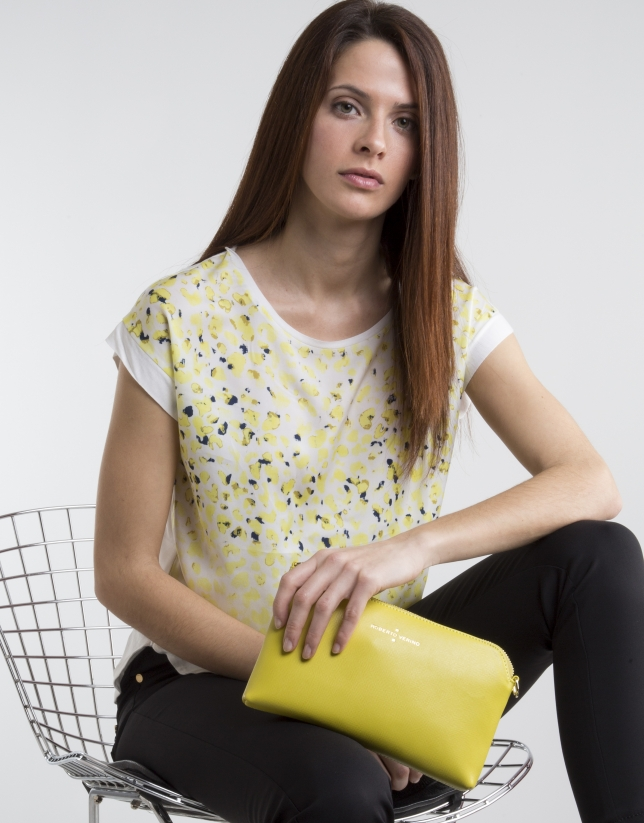 yellow print top with fantasia