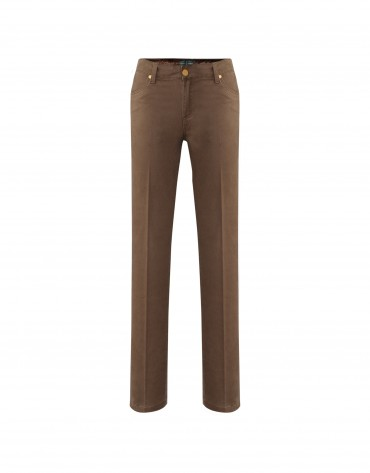 Brown pants embroidered pockets