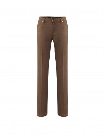 Pantalón camel bordados bolsillos