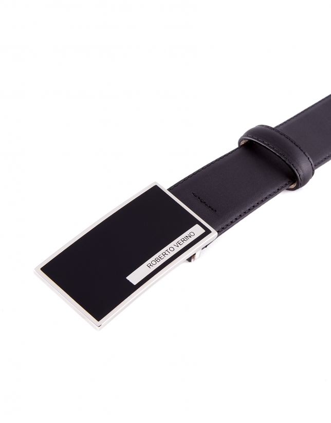 Black leather dress belt