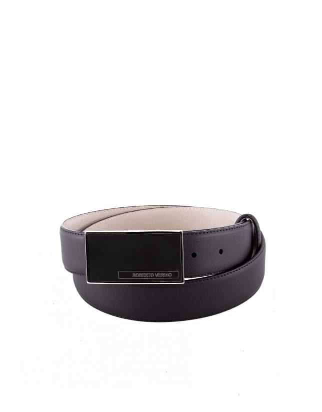 Cinturón vestir piel negro